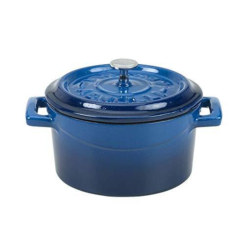 Mini cocotte 10 cm bleu en fonte - TomPress