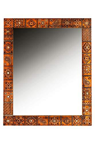Orient Spiegel Wandspiegel Nour 90cm groß | Großer Marokkanischer Flurspiegel mit Holzrahmen orientalisch handbemalt | Orientalischer Vintage Badspiegel ohne Beleuchtung als Orientalische Deko