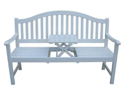 Vamundo Gartenbank integrierter Tisch weiß lackiert Eukalyptus FSC-Holz