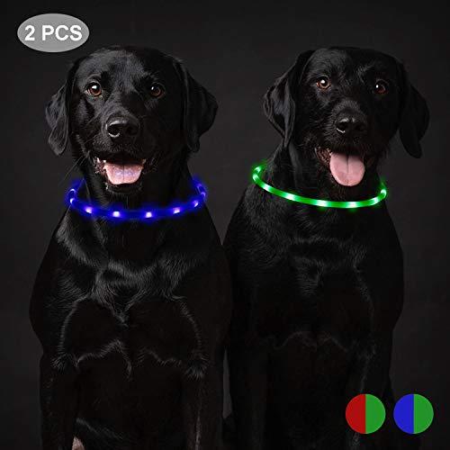 Toozey 2 Stücke LED Leuchthalsband Hund für 20 Stunden Dauerlicht Wasserdicht, USB Wiederaufladbar Schneidbar Nacht-Sicherheit Hundehalsband Leuchtband für Hunde und Katzen - 3 Modus(Blau und Grün)
