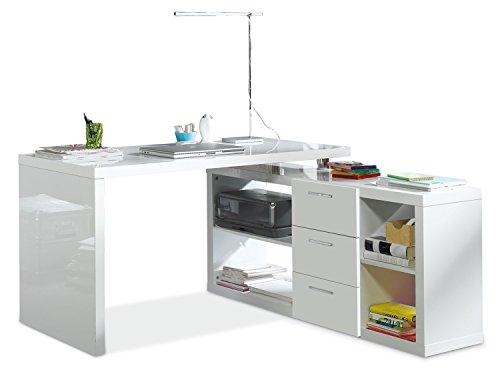 Eckschreibtisch Schreibtisch Computertisch Arbeitstisch | Weiß Hochglanz
