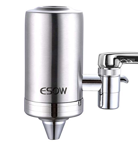 ESOW Faucet Mount Water Filter, SUS304 Stainless Steel Reduce Chlorine,Lead,BPA Free, Water Purifier with 7-Layer UF+ACF Filtration System, Fits Standard Faucets (2 Filter Cartridges Included)