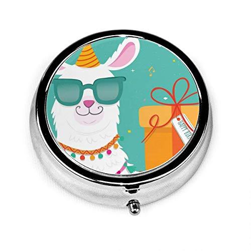 Alpaca Pastillero redondo compacto con 3 espacios, diseño de gafas
