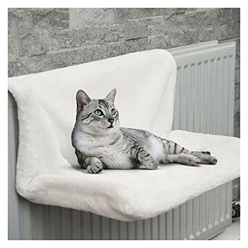 JKXWX Hamaca para Mascotas Mascota Gato Animal hammack radiador Cama Colgando Invierno cálido vellón Canasta hambols Metal Hierro Marco Dormir Cama para Gatos (Color : White)