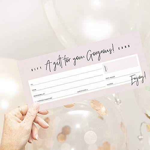 top christmas gifts vouchers and gift cards Bliss Collections Small Business Gift Certificates, Pack of 25 Blank Perfectly Pink 4 x 9 Heavyweight Card Stock for Spa, Beauty Makeup or Hair Salon Businesses, Easy to Write On, Great for Holidays