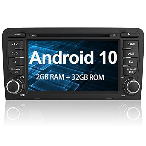 AWESAFE Android 10.0 [2GB+32GB] Radio Coche 7 Pulgadas con Pantalla Táctil 2 DIN para Audi A3/S3/RS3, Autoradio con Bluetooth/GPS/FM/CD DVD/USB/SD/WiFi/Carplay, Apoyo Mandos Volante y Aparcami