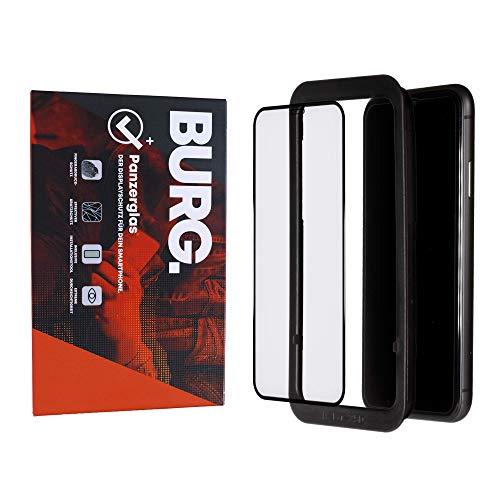 BURG. Protector de pantalla de cristal templado 3D para iPhone X/iPhone XS/iPhone 11 Pro, con plantilla de instalación