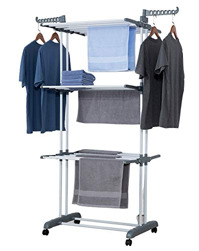 Talk-Point Mobiler Turm- Wäscheständer, Wäschetrockner, Wäscheturm | 18 Meter Wäscheleine, klappbar, mobil | mit Seitenflügel | für Innen & Außen (grau)