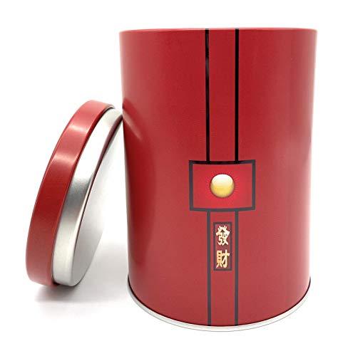 Perfekto24 Teedose für 250g losen Tee – Vorratsdose für Tee in rot (Red Sun Design) – Tee Aufbewahrung mit Aromadeckel - aromadicht/luftdicht – Blechdose rund - BPA frei