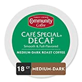 Community Coffee Café Special Medium-Dark Roast Decaf Single Serve K-Cup Compatible Coffee Pods, Box of 18 Pods
