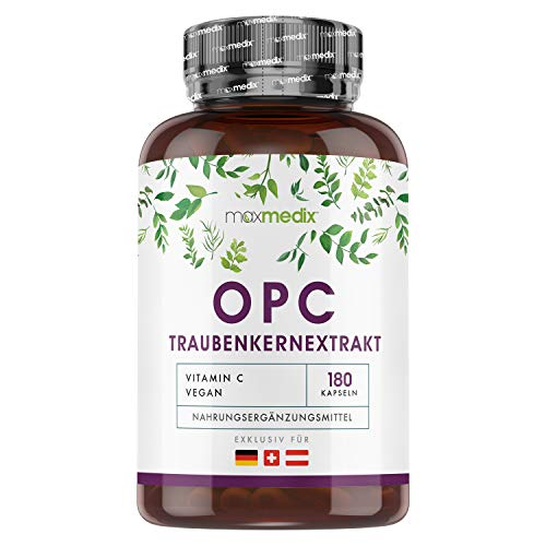 MaxMedix OPC Traubenkernextrakt - 1000mg reines OPC am Tag (Bate Smith Methode) - Traubenkerne aus Italien - geprüfte Zutaten & hoch bioverfügbar - Ohne Zusätze - 180 Kapseln vegan
