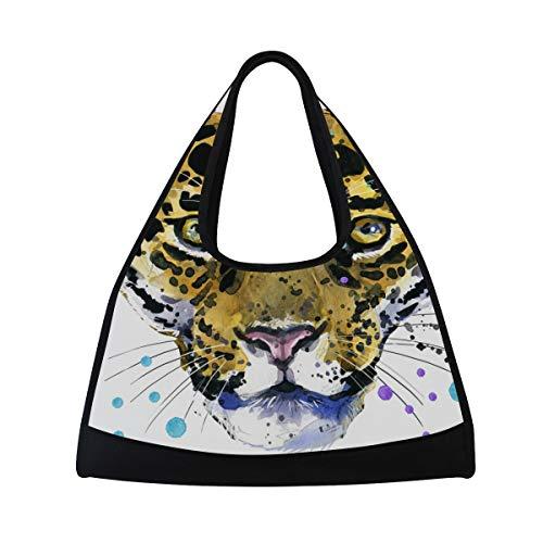 KIMDFACE Sporttasche,Leopard Aquarell Illustrations Jaguar Porträt wild,Neue Druck Verschiedene Muster Sport reisetaschen sporttaschen Kurze Reise Rucksack umhängetaschen