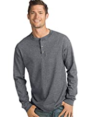 Heavyweight 100% Cotton (heathers: 75% Cotton/polyester) Henley sports a three-button placket Famously durable beefy-t fabric Soft, pure cotton feels terrific all day long Traditional set-in sleeves for solids; raglan sleeves for color blocks