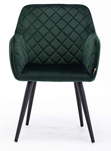 HNNHOME® Dalton - Silla de comedor tapizada con brazos y respaldo, patas de metal fuerte, sillón de salón o recepción, silla de baño (verde oscuro, terciopelo)