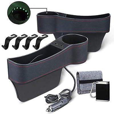 Car Seat Gap Filler - Car Seat Organizer Front Seat Gap Filler, Multifunctional with 2 USB Charging, Cup Holder, Full Premium Pu Leather, 2 Pack