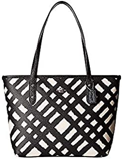 COACH Women's BF Wild Plaid Mini City Zip Tote