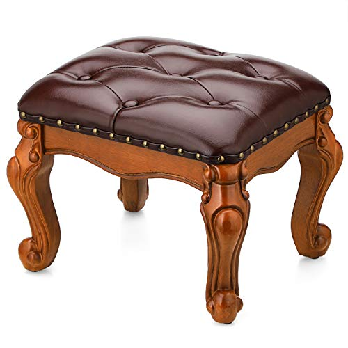 BILEEDA Small Foot Stool for Living Room Brown Leather Ottoman Stools for Foot Rest Solid Rubber Wood Simple Assembly