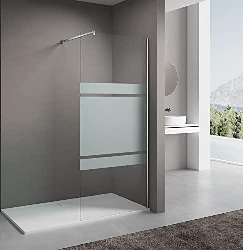 Teilsatiniert Duschglaswand 90cm,Duschwand, Walk in Dusche, Höhe 200cm, 8mm ESG-Sicherheitsglas,Nano Glas, mit Edelstahlstabilisator und Chromwandprofil.