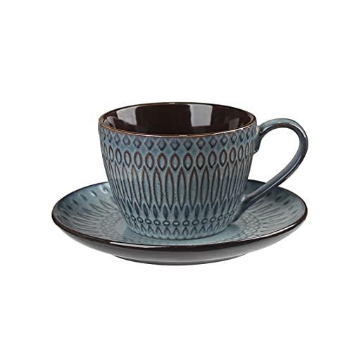 SXXYTCWL Taza de café de cerámica, Tazas de café con Vintage en Relieve, Taza de café Creativa con platillo, té de té Negro de la Tarde Simple, Adecuado para la Familia, Restaurante, Oficina