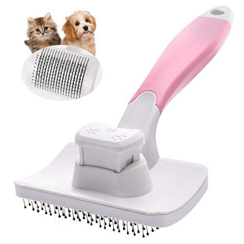 Petaccペット用ブラシスリッカーブラシ抜け毛取りクリーナーグルーミングワンプッシュで抜け毛除去小型中型犬猫用ブラシピンク