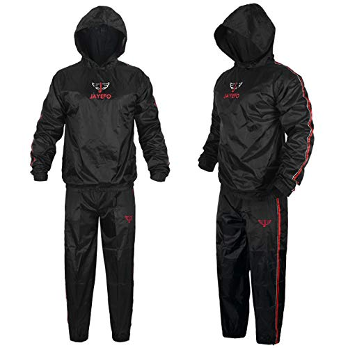 Jayefo Sauna Suit with Hood (Black/RED, Medium)