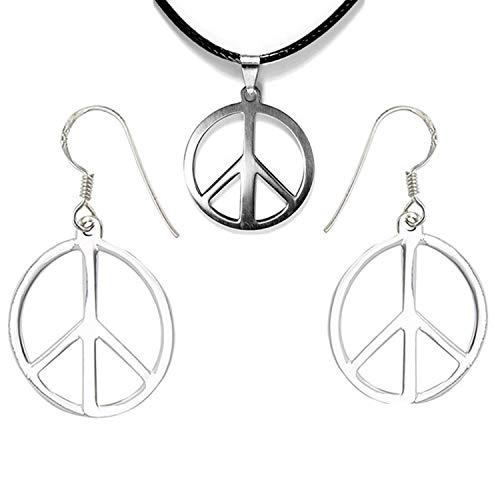 PPX 3 Stück Peace Zeichen Silber aus Metall mit Stoffband Kette zum umhängen als Halskette und Peace Zeichen Ohrring Schmuckset mit einer Box