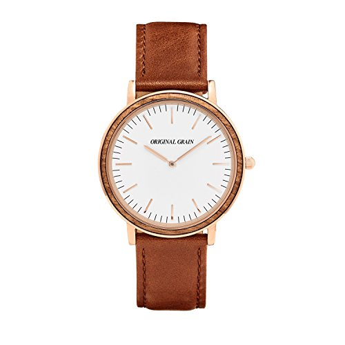 Original Grain Zebrawood Rosegold Wood Watch - Minimalist Collection Analog Watch - Japanese Quartz Movement - Wood and Stainless Steel - Water Resistant - Zebrawood Wrist Watch - 40MM