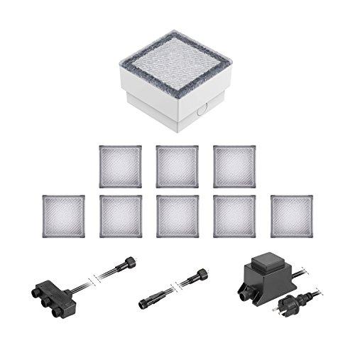ledscom.de LED Pflaster-Stein Gorgon Boden-Einbauleuchte für außen, 10x10cm, 12V, warm-weiß 9er Set
