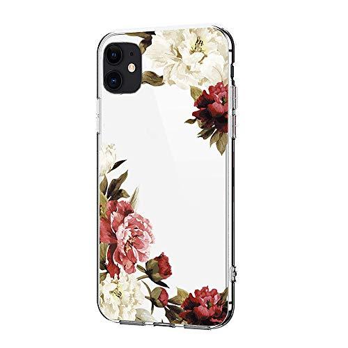 für iPhone 11 Hülle Blumen Flexibele Schuzthülle Silikon TPU Stoßfeste Handyhülle Transparent Mädchen Hülle Cover für iPhone 11 Vintage Blumen