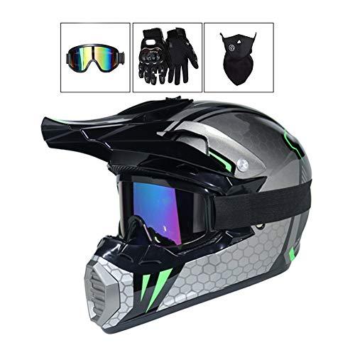 LEENP Motocross-Helm, Herren Cross-Helm Motorradhelm (4 Pcs) Sets mit Brille/Maske/Handschuhe, Motorrad Off-Road Sports Quad Motorräder DH Enduro-Helm für Männer Damen, Grau,M