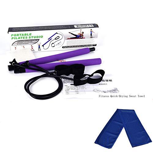 PEIN Tragbares Pilates Bar Kit/Yoga Pilates Stick Übungsstange/Yoga Fitness Towel/für Yoga, Stretch, Sculpt, Twisting, Sit-Up Bar Widerstandsband,G-Blue Pilates Stick