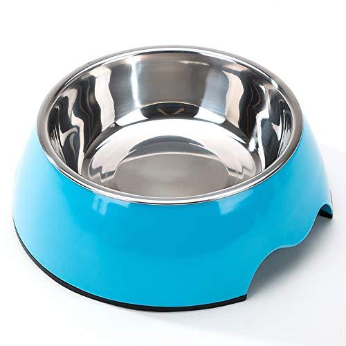 Pet bowl Edelstahl Hundefutter Schüssel mit Kippschutz geeignet for mittelgroße Haustiere (Color : Removable Blue)