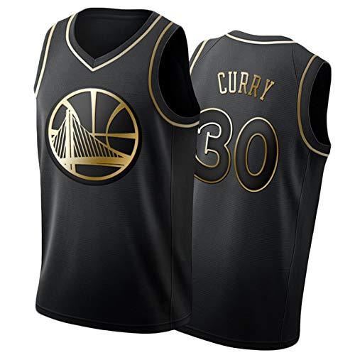 IUYJ Stephen Curry #30 Golden State Warriors Camiseta De Baloncesto para Hombre,Camiseta Bordada En Negro Y Dorado,Basketball Jersey Transpirable De Malla Sin Mangas Black Gold-L