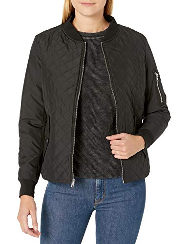 Womens Quilted Flight Black Bomber Jacket