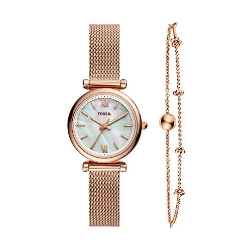 Fossil Women's Carlie Mini Quartz Mesh Three-Hand Watch, Color: Rose Gold Bracelet Set (Model: ES4443SET)
