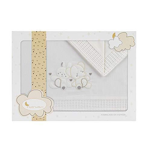 Danielstore-Sabanas Cuna 60x120 algodon 100% - (bajera+encimera+funda almohada).Modelo Osito durmiendo (Conejo elefante beig)
