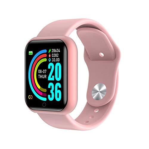 XUEXIU Smart Watch Hombres Impermeable Deporte Fitness Pulsera Inteligente Presión Arterial Monitor De Frecuencia Cardíaca Y68 SmartWatch (Color : Pink)