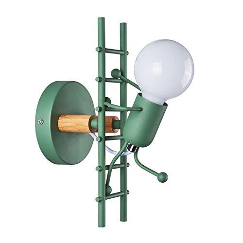 Lámparas de Pared de Creativas Escalonadas Personas Individuales Decorativa Conector E27 Lámpara De Pared DIY Luz para Salon Dormitorio Sala Pasillo Escalera LED Aplique de Pared,Verde