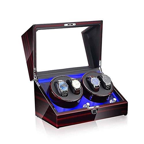 FFAN Bobinadoras automáticas, para 4 Relojes Bobinadoras automáticas de Relojes 5 Modos de rotación Motor silencioso Cajas de Almacenamiento de Relojes Decoration