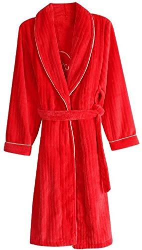 Homewear Robe Coppie Robe – Unisex Coppie Robe herfst winter mannen en vrouwen lange badjas koraal deel doek rood pyjama flanel badjas Mol uitstekend