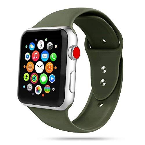 Tech-Protect Armbänder für Apple Watch 42mm und 44mm, Iconband Kompatibel mit iWatch Series SE/6/5/4/3/2, Sport Armband, Weiche Silikon Ersatz, Armeegrün