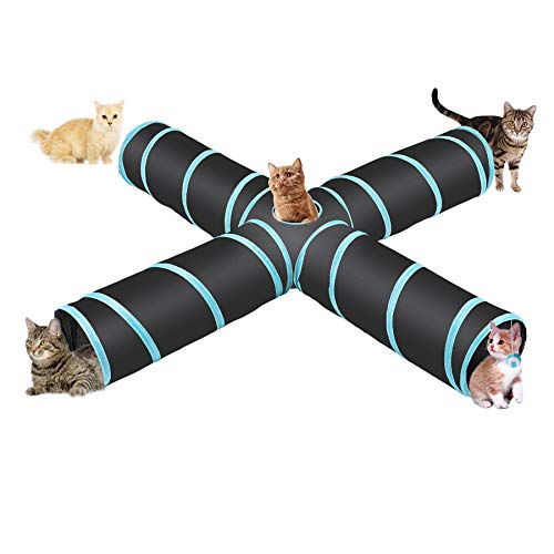 CO-Z 4 Way Collapsible Cat Tunnel, Roomy and Tear Resistant Crinkle Cat Toy Tube with Cat Teaser, Storage Bag and Dangling Toys, for Cat, Puppy, Kitty, Kitten, Rabbit, Dogs, Indoor Outdoor Use