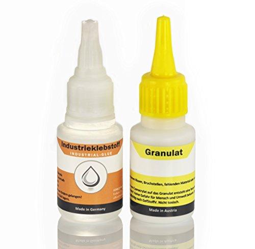 Extra starker Industriekleber mit Granulat, die Klebstoff-Schweißnaht - Superkleber (super glue) ist wasserfest und hitzebeständig - klebt Kunststoffe, Plastik, Holz, Stein, Keramik, Porzellan