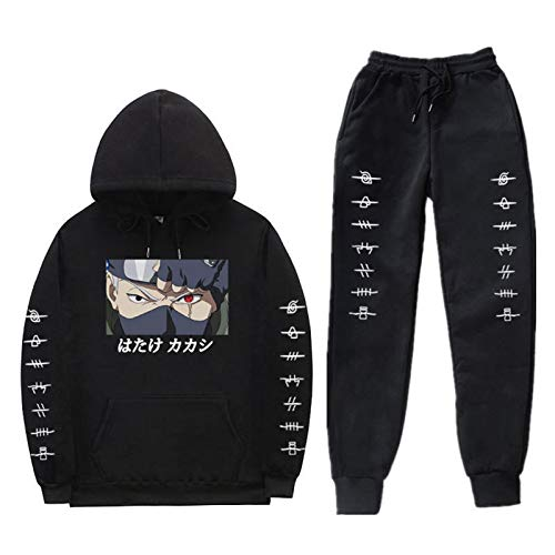 XQshop Anime Naruto Hatake Kakashi Hoodie Jogginghose Sets Unisex 2 Stück Pullover Sweatshirt Anzug Casual Trainingsanzug