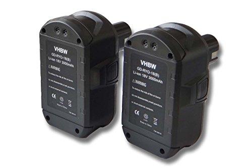 vhbw 2x Batteries compatible avec Ryobi CRH1801, CRO-180M, CRP-1801, CRP-1801/DM, CRP-1801D outil électrique (3000mAh Li-ion 18 V)