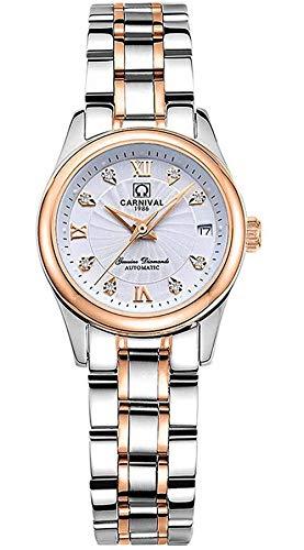 Fashion Damen Automatikuhren Damen Two-Tone Edelstahl wasserdicht Kleid Armbanduhr, Two-Tone/weiß