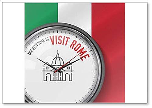 The Best Time to visit Rom. Hintergr& mit italienischer Flagge. Uhr mit St. Peter's Basilika Kühlschrankmagnet