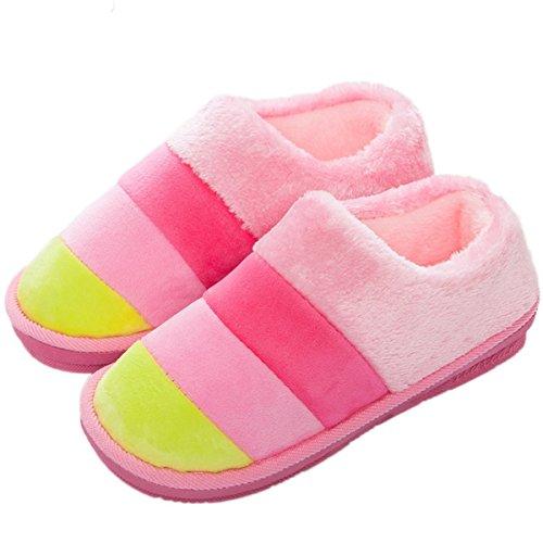 Minetom Mujer Hombre Otoño Invierno Zapatillas De Estar Por Casa Pareja Interior Skidproof Algodón Zapatos Rosa EU 36-37