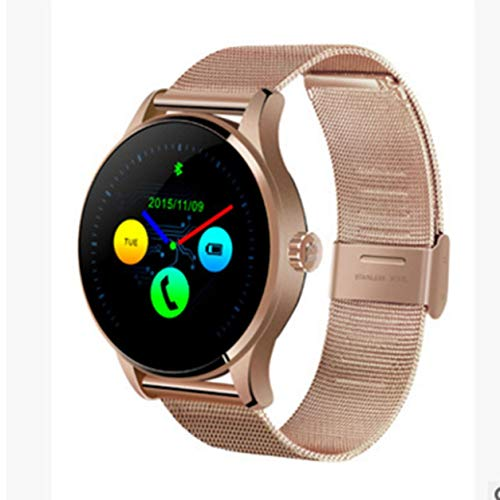 K88H intelligente della vigilanza dello schermo IPS Smartwatch cardiofrequenzimetro Bluetooth 4.0,cinturino in acciaio oro