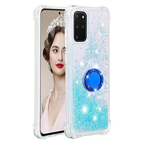 Coque pour Samsung Galaxy S20+/S20 Plus,Brillante Cristal Diamant Anneau Socle de téléphone Liquide Dégradé Transparente Silicone TPU Étui Antichoc Coques(Étoiles Bleues fluorescentes)